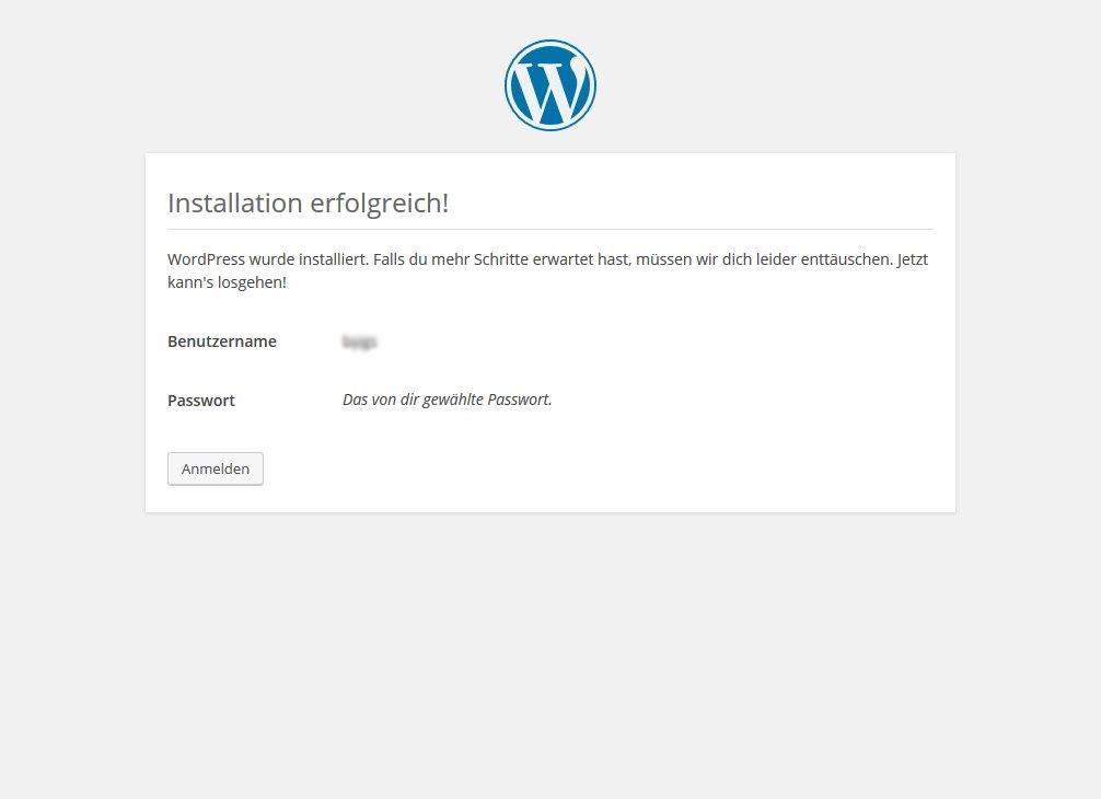 Wordpress Installation Abschluss