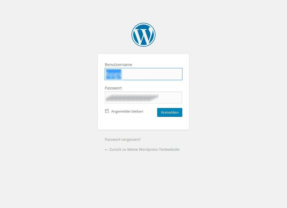 Wordpress Anmeldung
