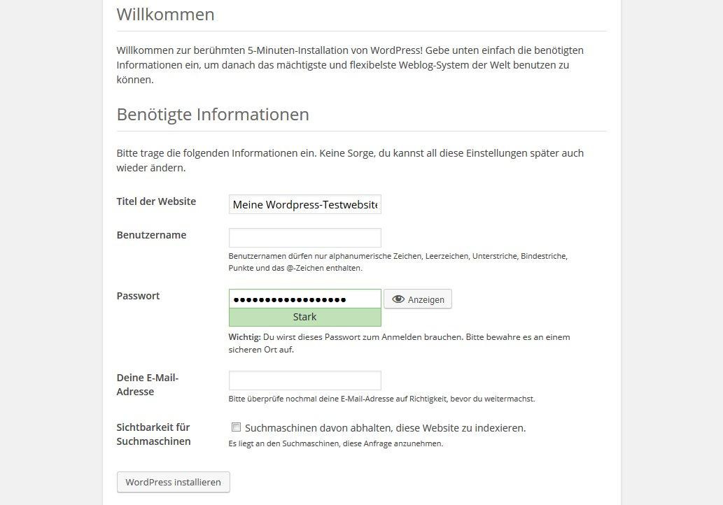 Wordpress bei one.com Installation Benutzer anlegen