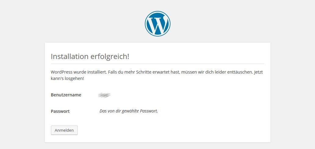 Wordpress bei one.com Installation Benutzer erfolgreich