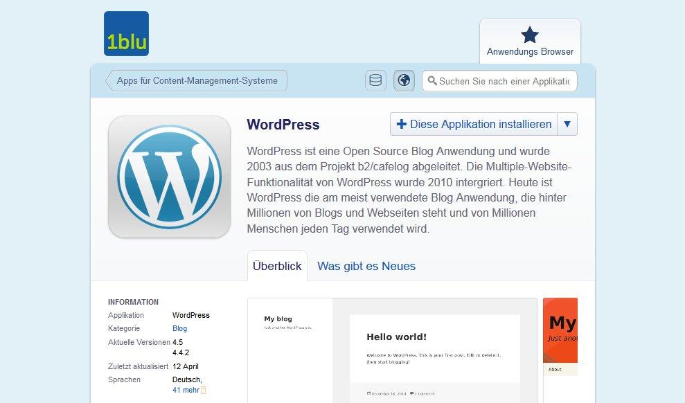 Zwischenschritt Installation WordPress