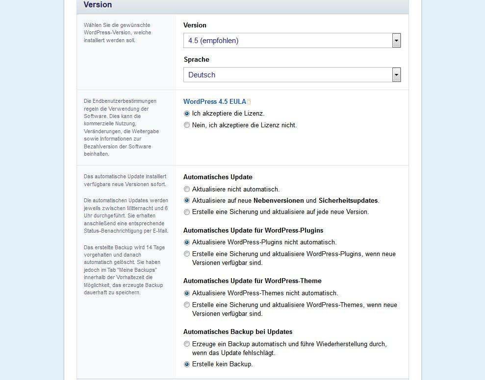 Wordpress Versions- und Sprachauswahl