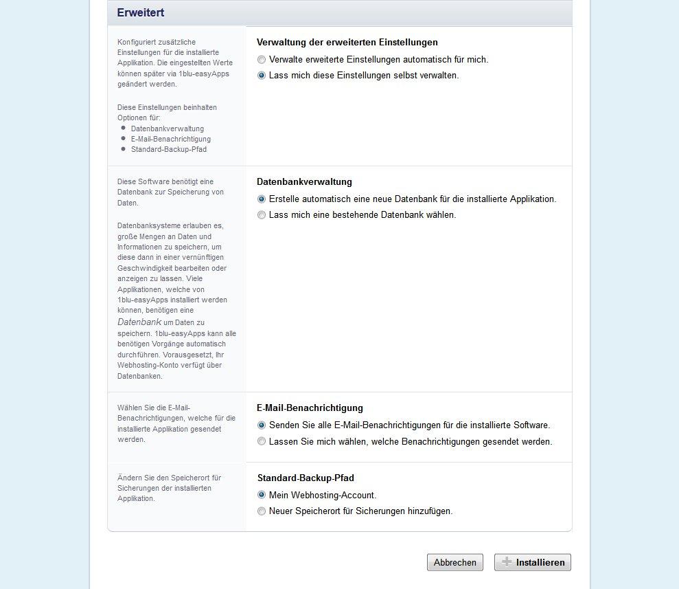Wordpress Installation erweiterte Einstellungen ausführlich
