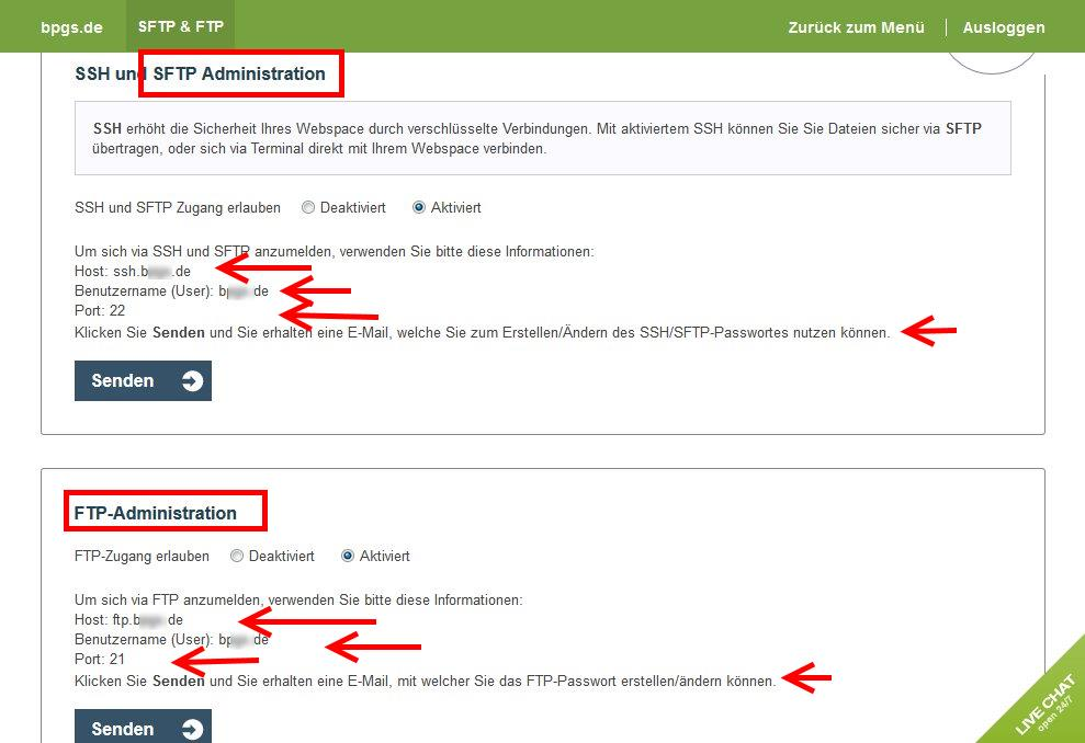 FTP-Verbindung bei one.com