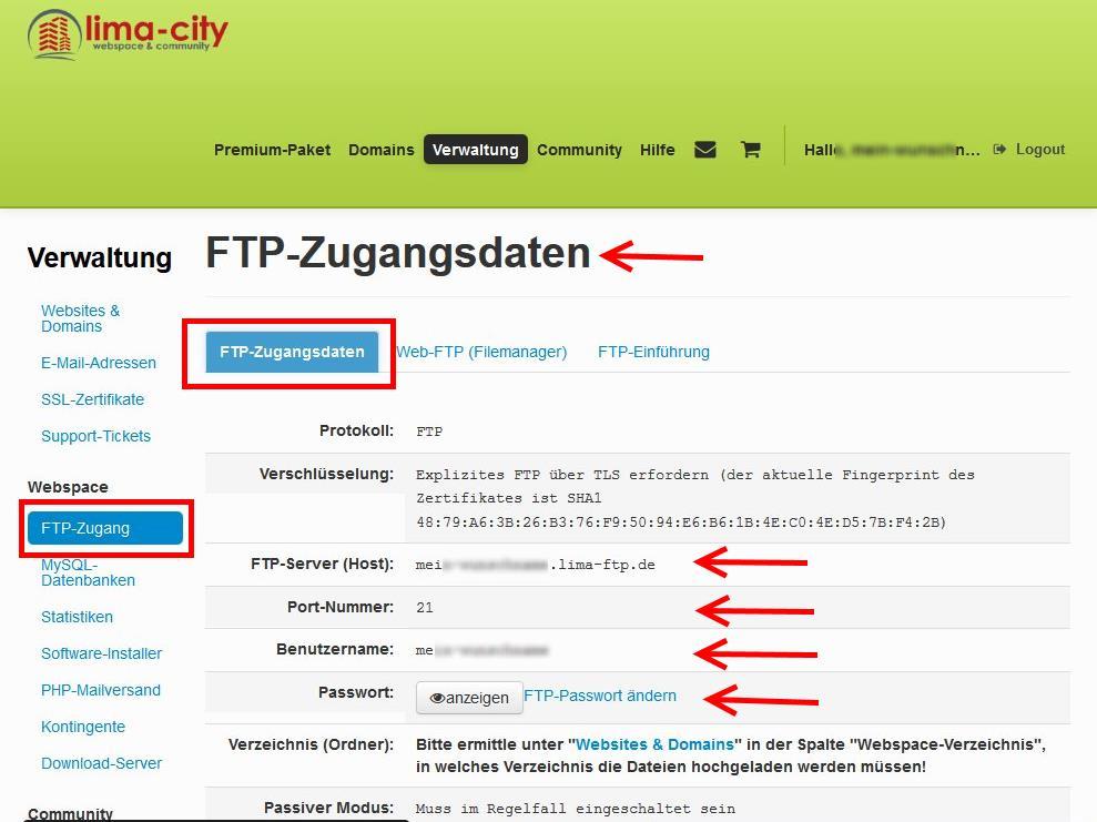 FTP-Verbindung bei Lima City