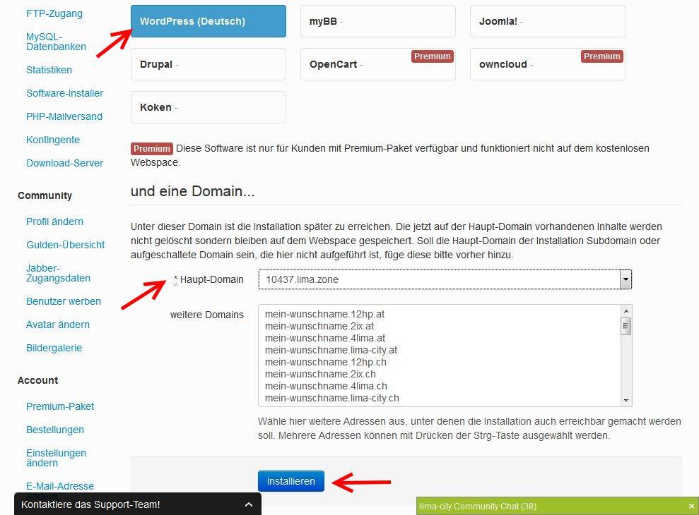 Erste Auswahl zur WordPress Installation