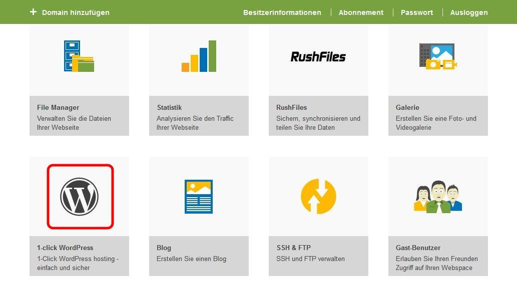 Wordpress bei one.com im Admins Panel