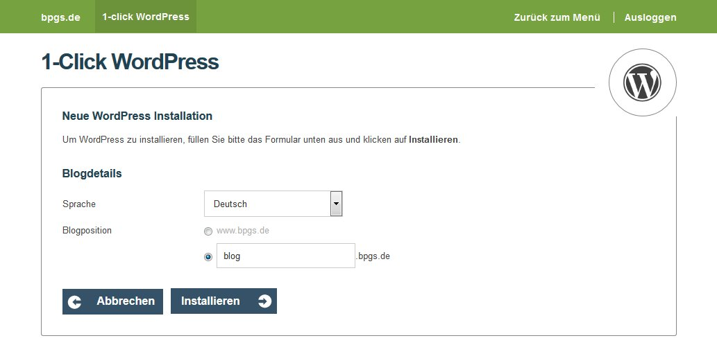 Wordpress bei one.com Domainauswahl