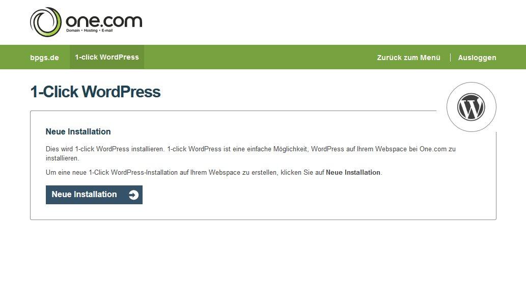 Wordpress bei one.com im Admin Panel Zwischenschritt