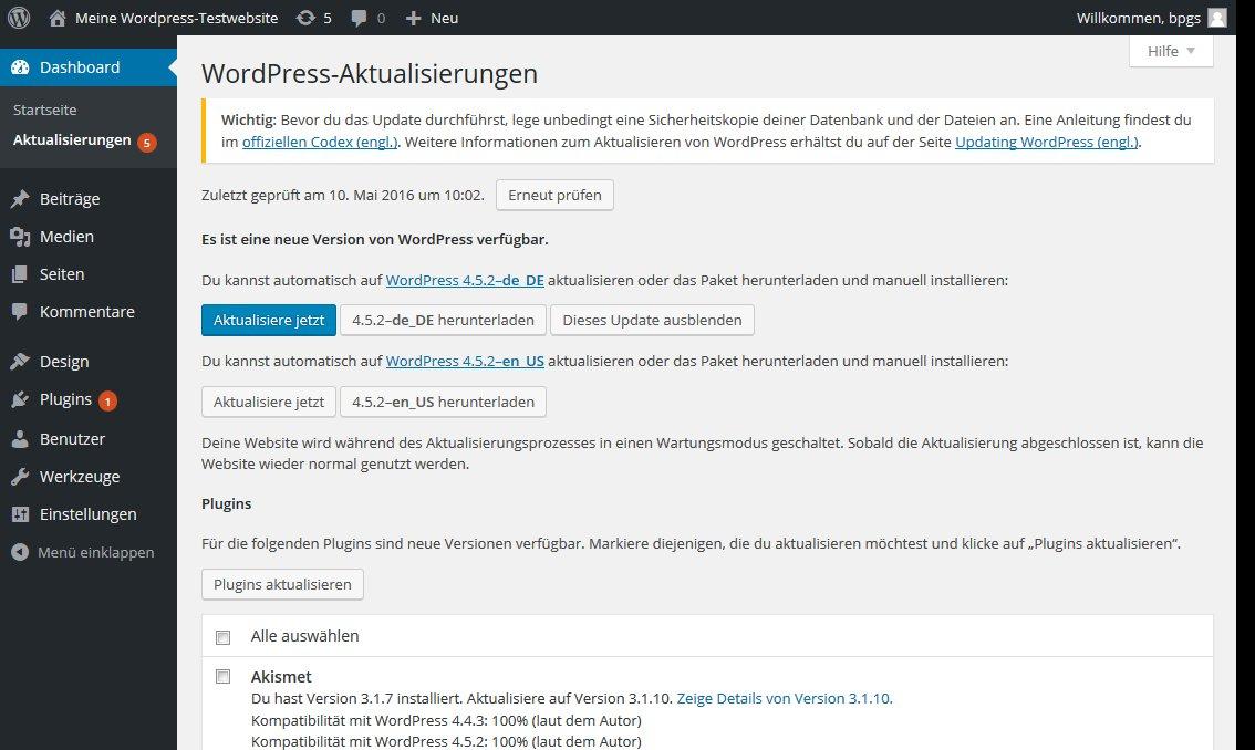 Wordpress update core