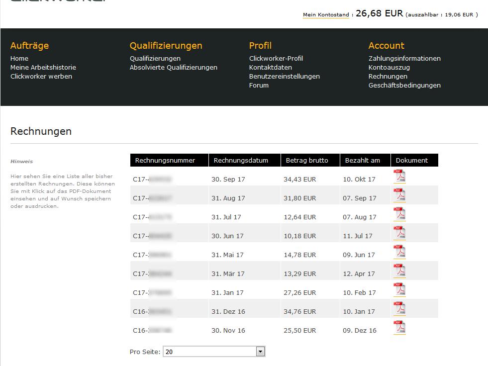 Screenshot Clickworker Auszahlungen innerhalb eines Jahres