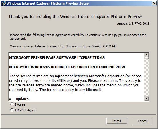Installation Internet Explorer 9 Beta