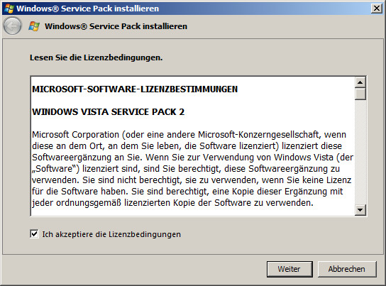 Windows Vista-SP2 Installation Schritt 2