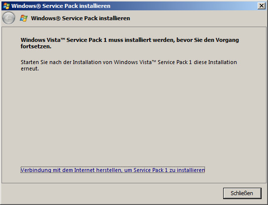 Windows Vista-SP2 Installation Abbruch